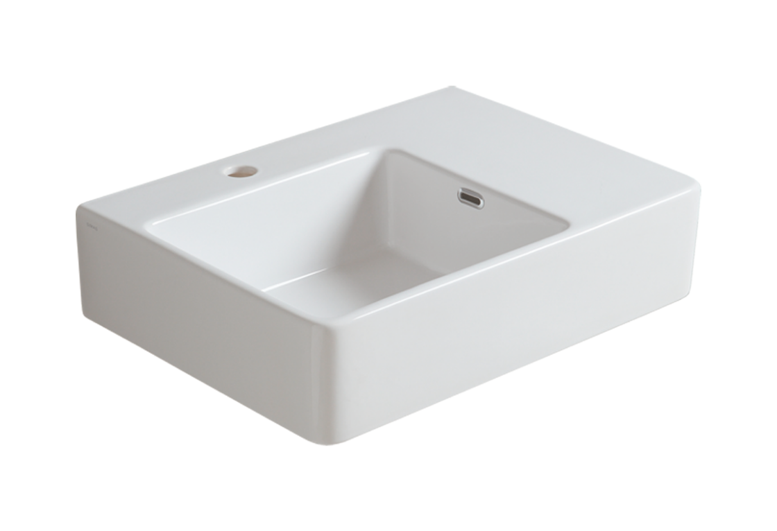 Wall hung washbasin 60 with left side bowl QU 60S