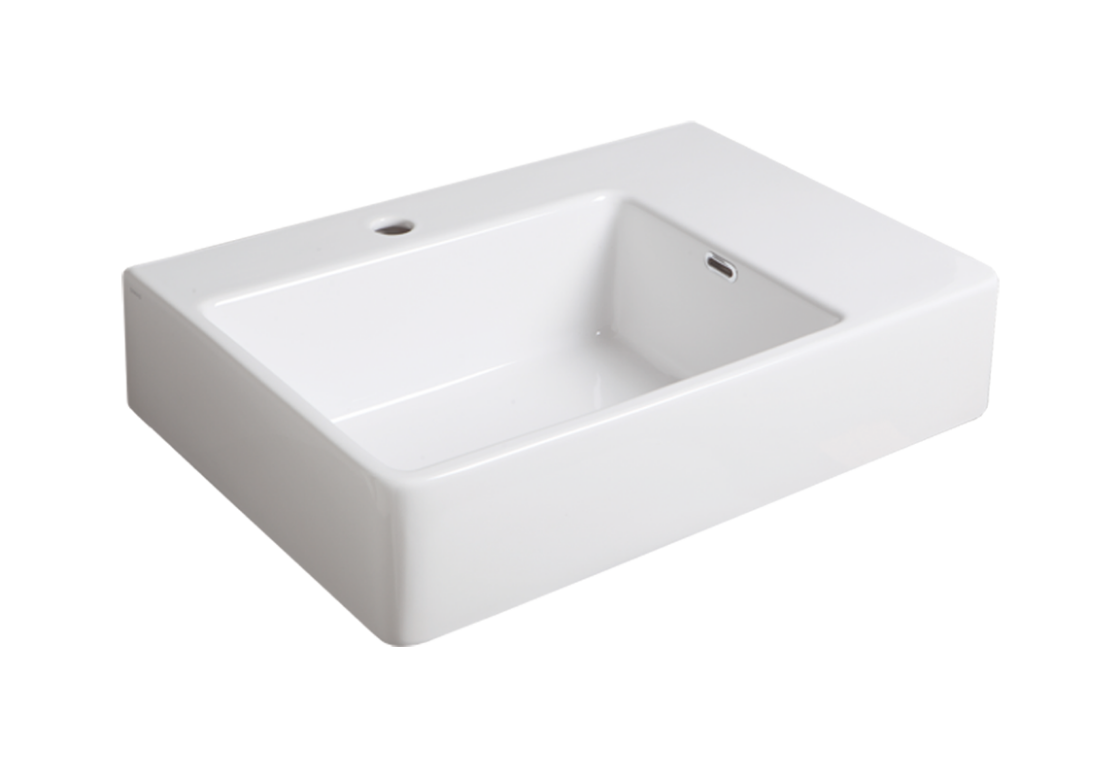 Wall hung washbasin 65 with left side bowl QU 65S